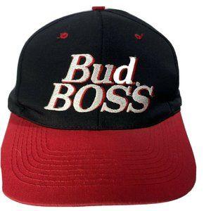 Vintage BUD BOSS Beer Red Rope HAT Cap Trucker Sna